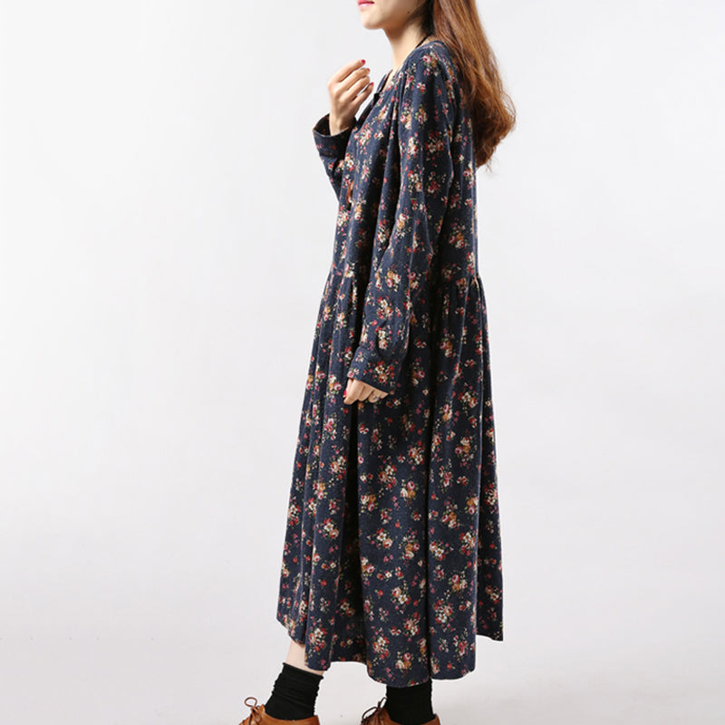 Vintage Print Casual Long Sleeve Maxi Robe Dress