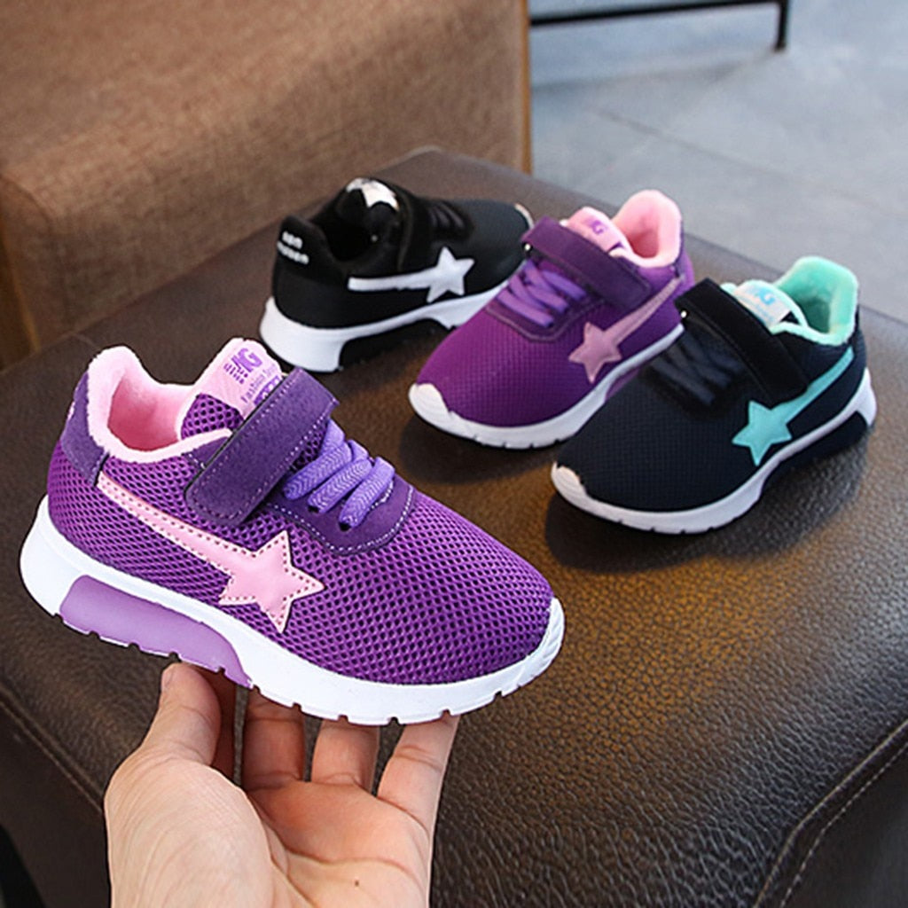 Kids Boys Girls Star Mesh Breathable Sport Running Sneakers Shoes