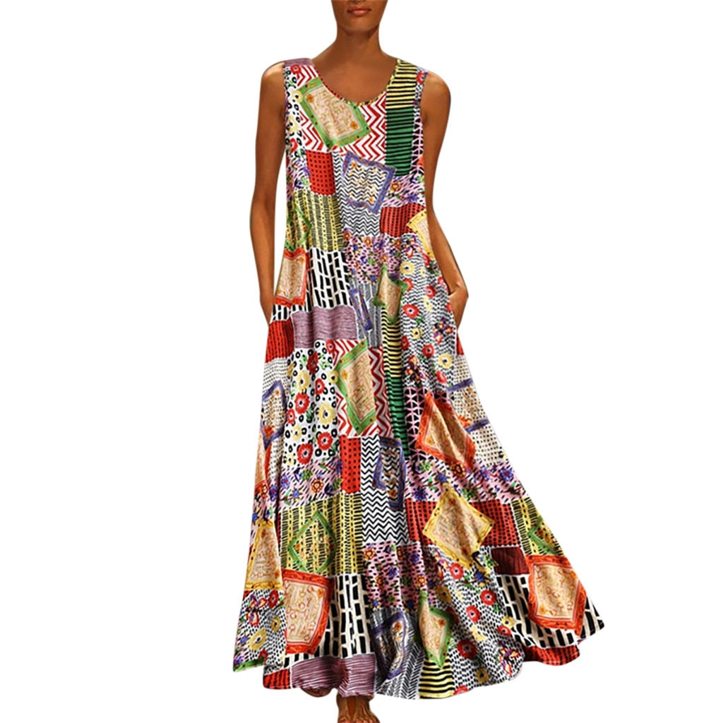 WOMEN'S SUMMER V-NECK SLEEVELESS DRESS WITH COLORFUL PRINT AND PATCH