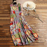 Vintage Print Floral Patch Maxi Long Dress