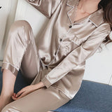 Women Lapel Imitation Silk Long Sleeve Home Wear