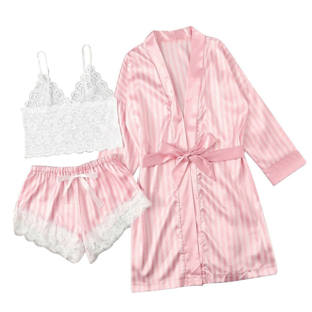 3 Pieces Silk Satin Pajamas Set