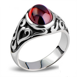 Men's Vintage Thai Silver Garnet Vampire Rings & Hand Carved Pattern Solid 925 Sterling Silver Ring for Men Punk Jewelry|Rings| |  - AliExpress