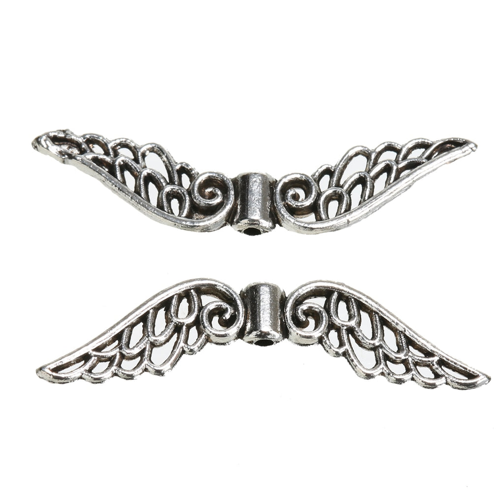 50pcs Silver Angel Wing Spacer Beads