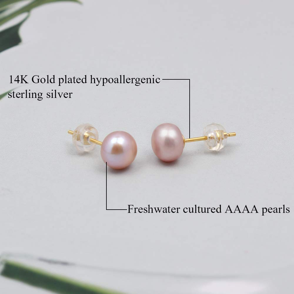 Real Freshwater Cultured Pearls Gold Earrings