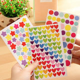 6 Sheets Star Love Heart Round Shape Stickers