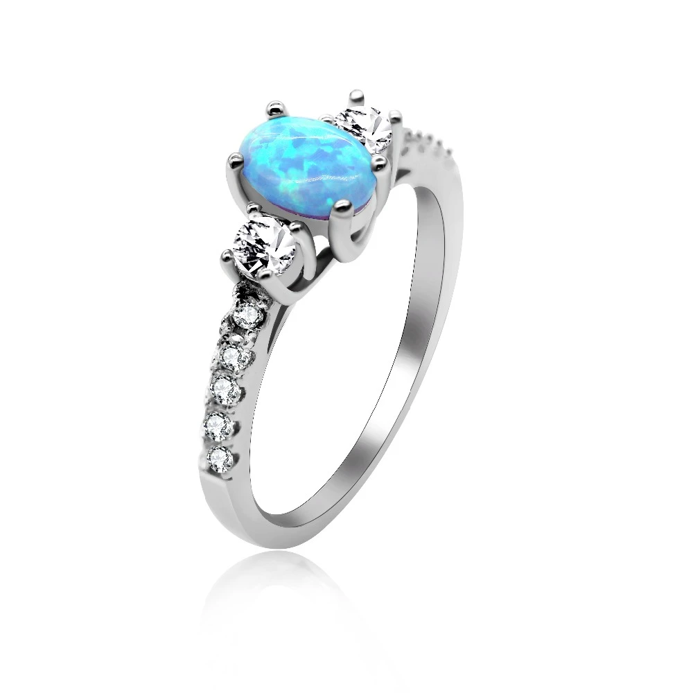 Blue Fire Opal Princess 925 Sterling Silver Ring