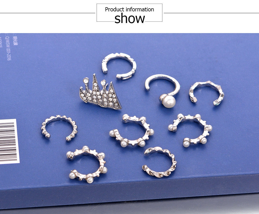 9pcs/set Punk Simulated Pearl Crystal Clip Earrings for Women