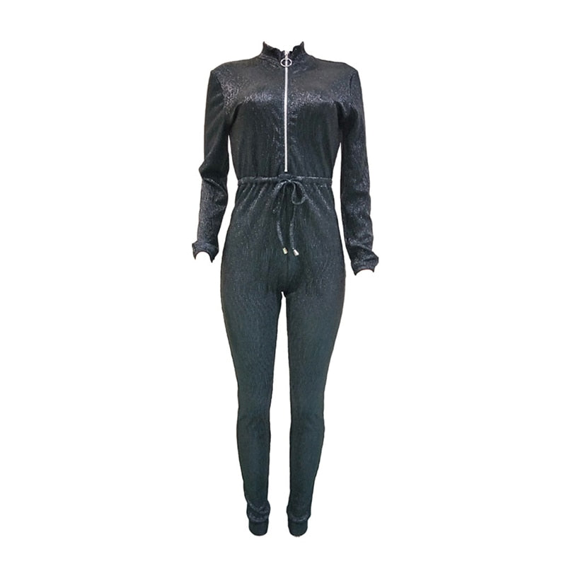 Women's Zipper Turtleneck Long Sleeve Fashion Jumsuits