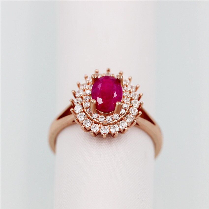 1ct Natural Ruby 925 Sterling Silver Rose Gold Color Jewelry