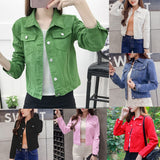Lapel Solid Casual Denim Buttons Women's Jacket