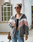 Autumn Winter Patchwork Plush Women's Jacket