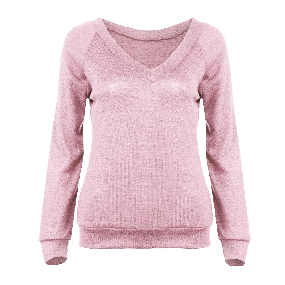 Women Casual Solid V Neck Long Sleeve Loose Sweaters