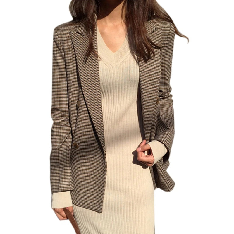 Striped casual polyester houndstooth Women's Blazers