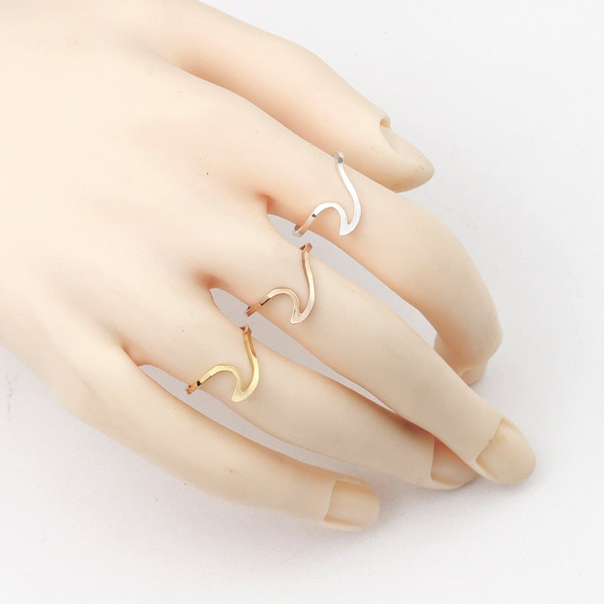 Stainless Steel Ocean Wave Rings For Women