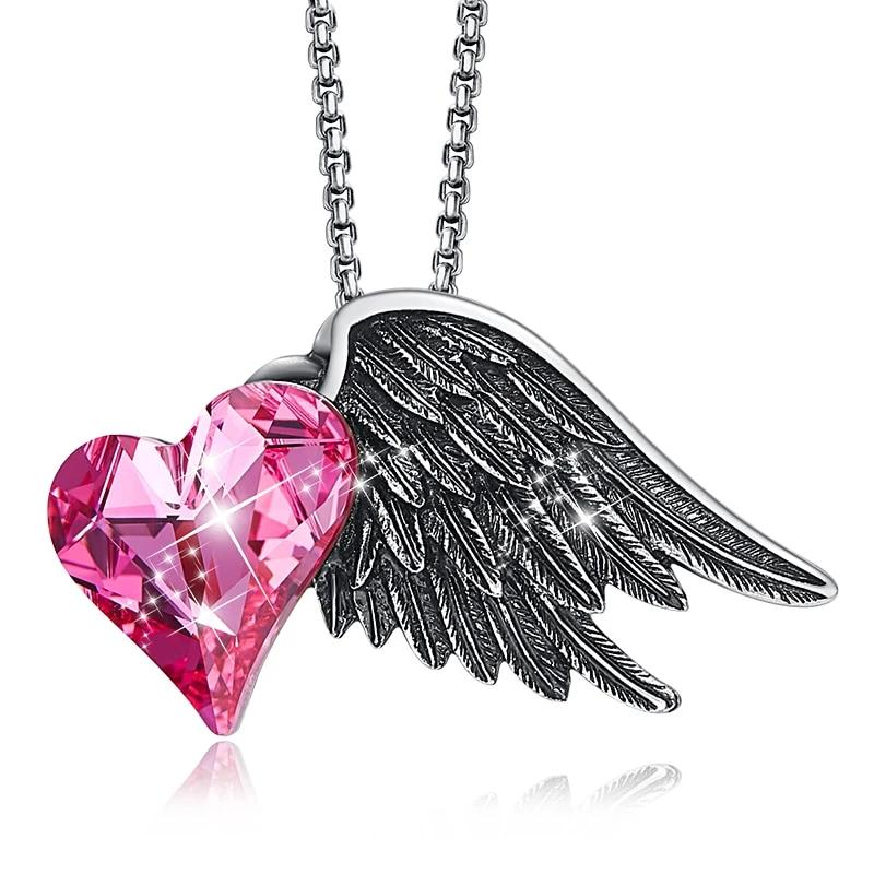 Heart Love  Necklace Women Angel Wings Pendant Necklace with crystals