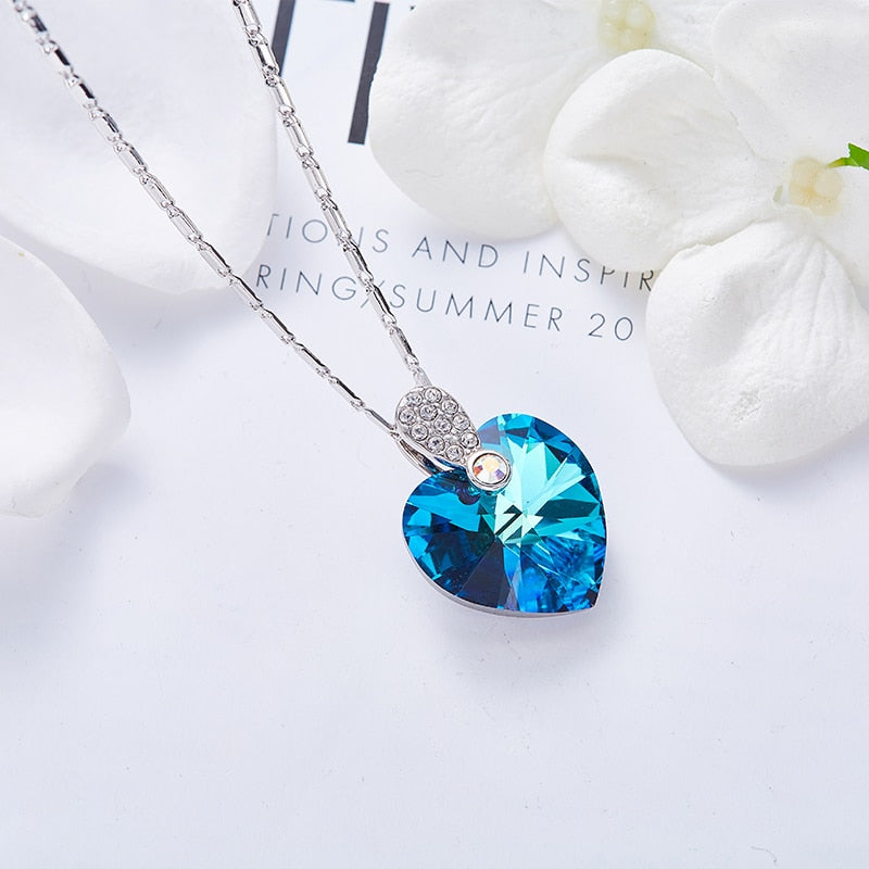 Swarovski Pendant Necklace Women Chain Necklace Wedding Jewelry Collares Gift