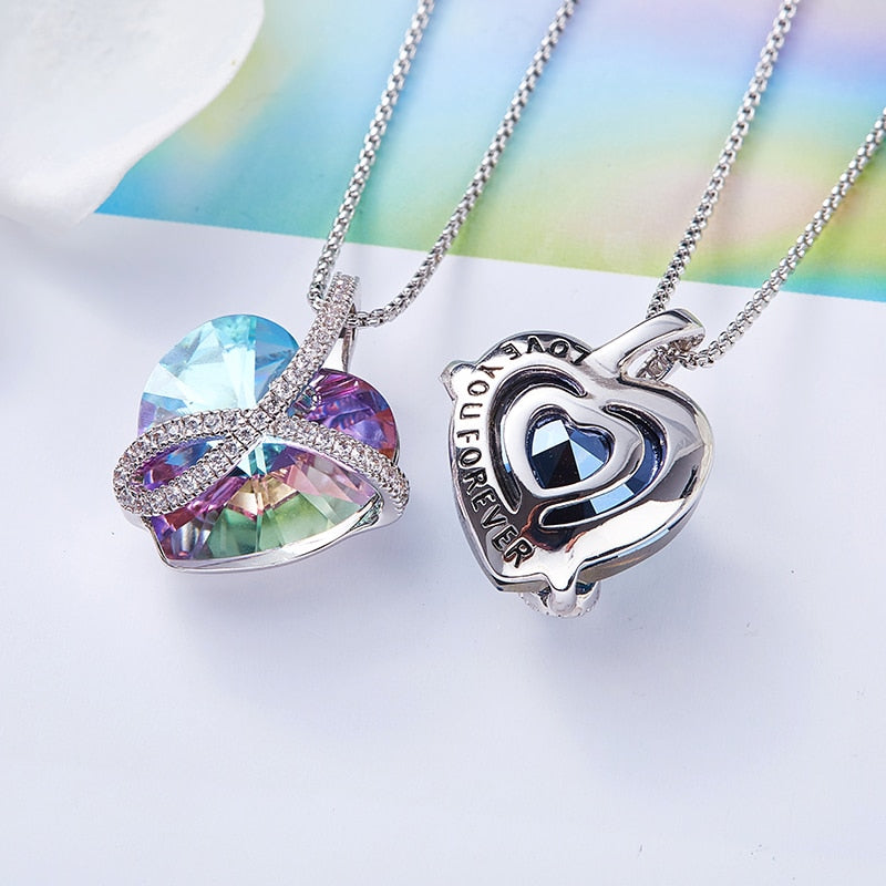Swarovski Women Gift Silver Chain Necklace LOVE YOU FOREVER Crystal Necklace