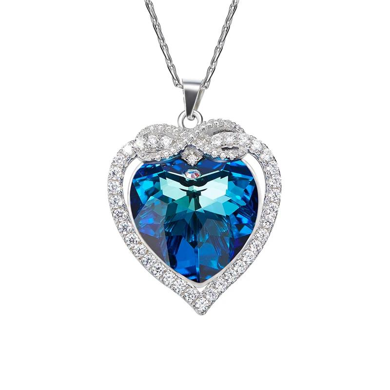 Heart Blue Necklace Jewelry Fashion Anniversary Romantic Gift with Crystals from Swarovski