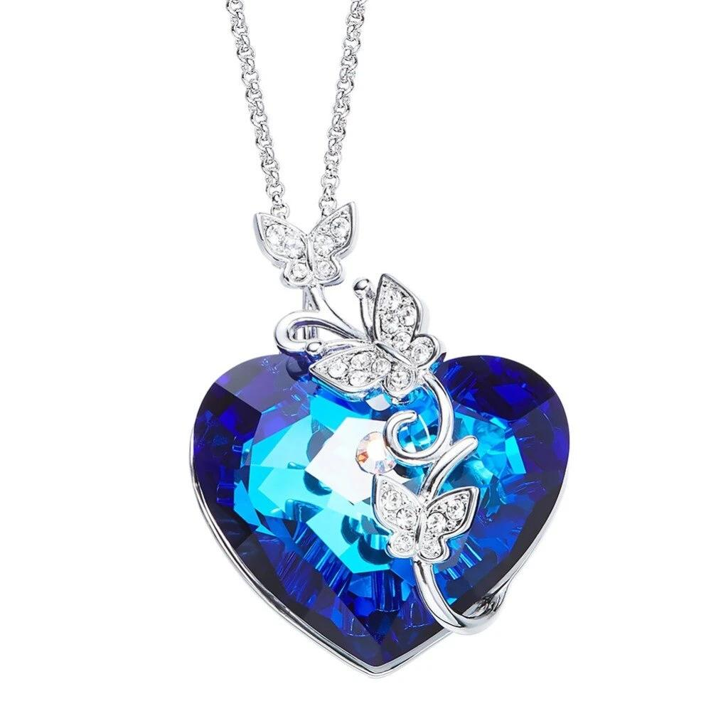 Heart Butterfly Jewelry Necklace Embellished With Crystals from Swarovski