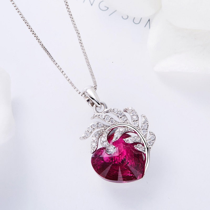 Heart Necklace Women Feather Jewelry Crystal Jewelry Mom Necklace