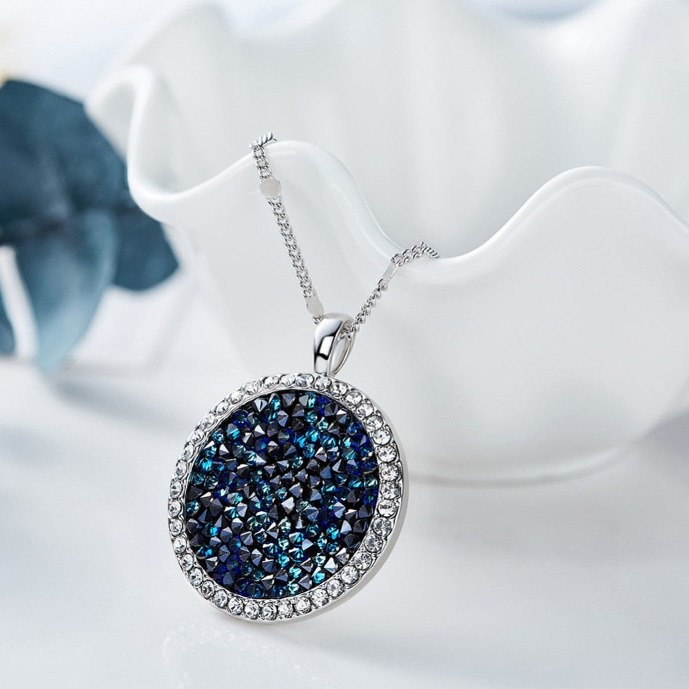 Wedding Necklace Women Blue Elegant Jewelry Collares Round Pendant Necklace Embellished with crystals Chain