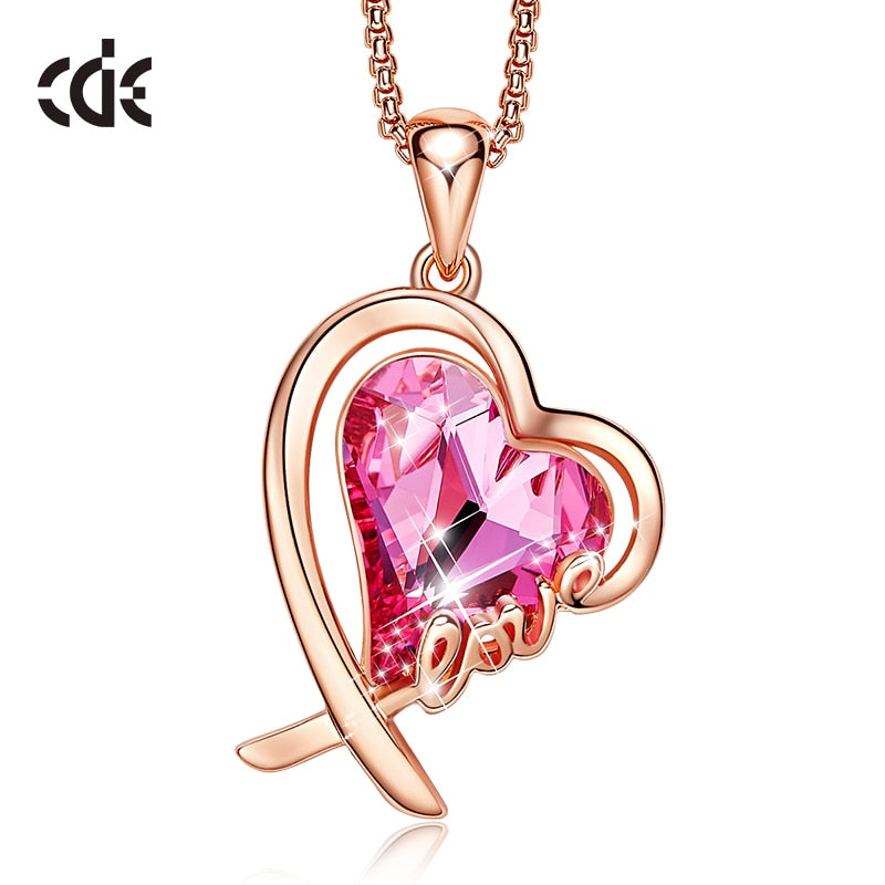 CDE Women Gold Necklace Jewelry Embellished with crystals Pendant Necklace Fashion Heart Necklace Love Gifts
