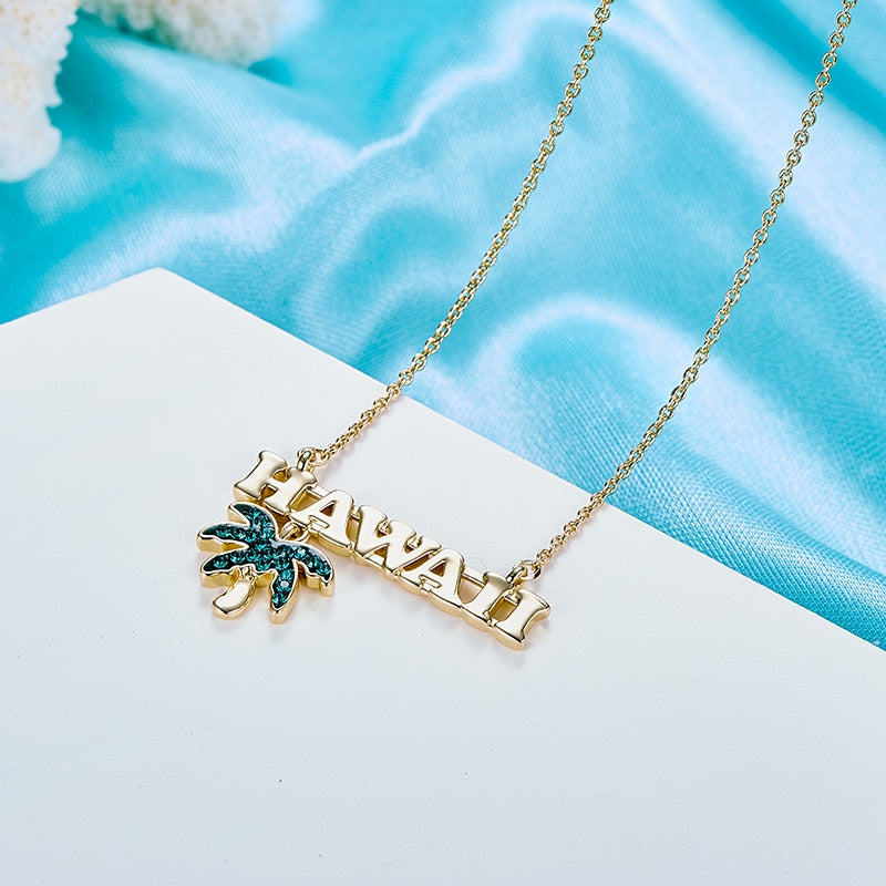 CDE Women Gold Necklace Jewelry Embellished with crystals from Swarovski Hawaiian Summer Beach Coconut Tree Necklace Jewelry
