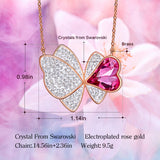 CDE Women Gold Necklace Pendant 925 Sterling Embellished with crystals Heart Pendant Necklace Flower Jewelry Gift