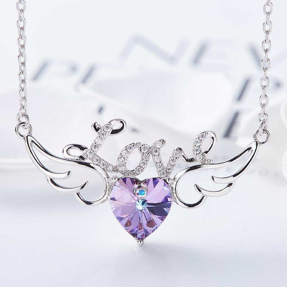 CDE Women Pendant Necklace Embellished with crystals from Swarovski Heart Necklace Chain Jewellery Love Jewelry Collares Gifts
