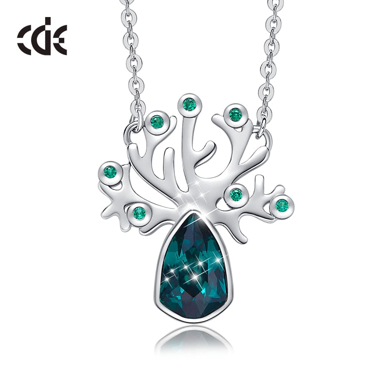 CDE Women Pendant Necklace Embellished with crystals from Swarovski Tree Plant Necklace Wedding Engagement Jewelry Collares Gift