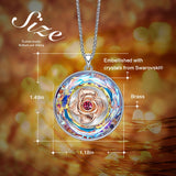 Cdyle Dancing Rose Necklace Women Embellished with crystal Necklace I LOVE YOU MOM Engraved Mothers Day Gifts