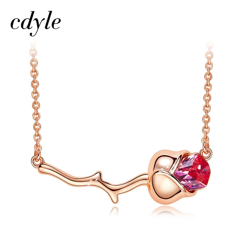 Cdyle Women Gold Necklace Embellished with crystal Delicate Rose Necklace & Pendants Flower Party Jewelry