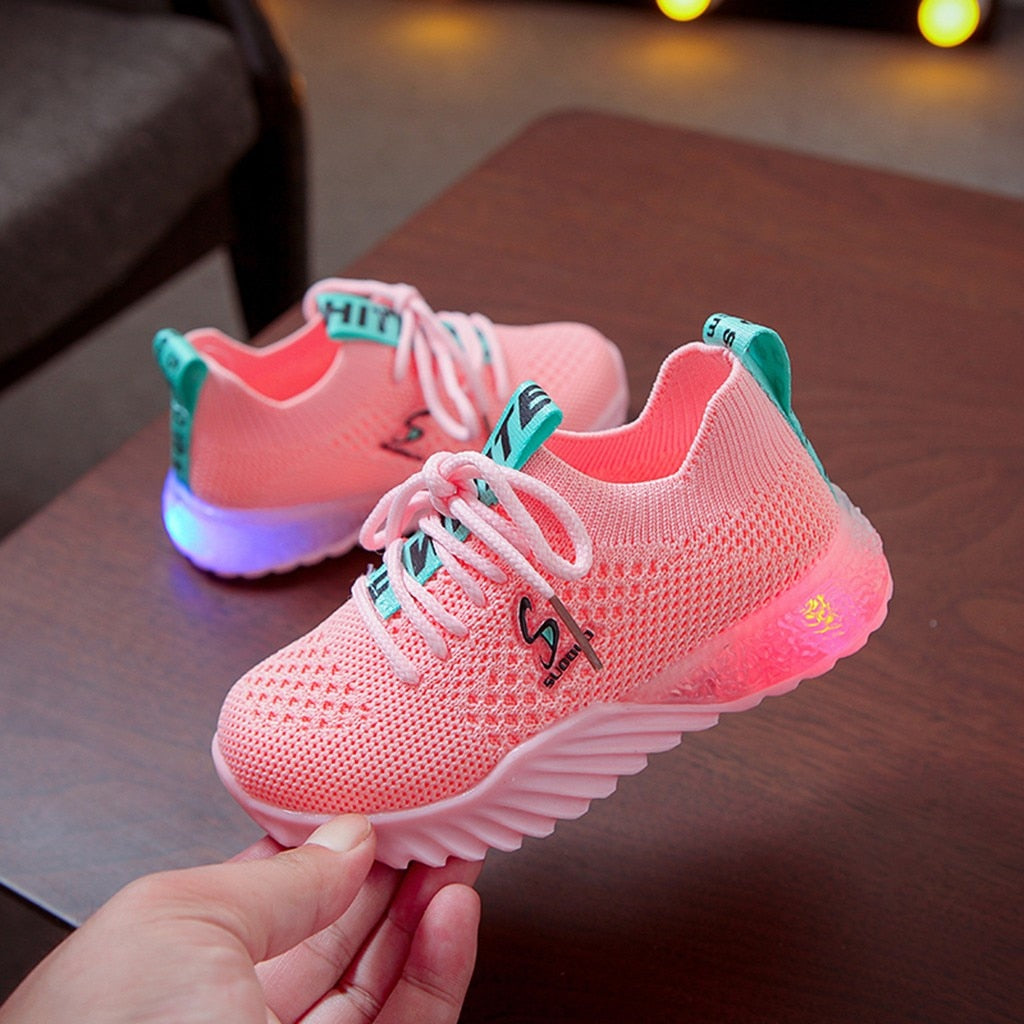 Children Kid Baby Girls Boys Letter Led Luminous Sport Run Sneakers