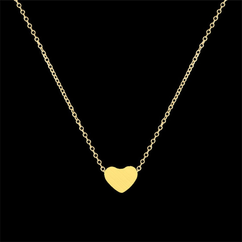 Stainless Steel Rose Gold Color Dainty Heart Pendant Necklaces For Women