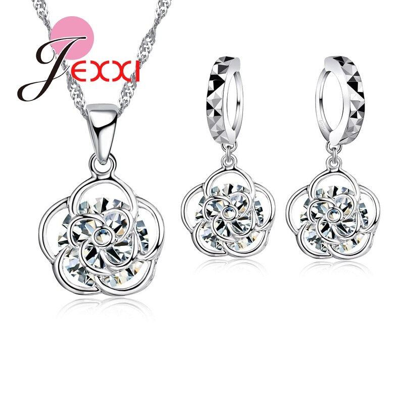 Classic 925 Sterling Silver African AAA Crystal Rose Flower Pendant Neckalce Drop Piercing Earrings Set Summer Fine Jewelry