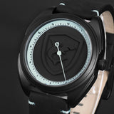 3D White Logo One Simple Hour Hand Design Leather Strap Quartz  Watch