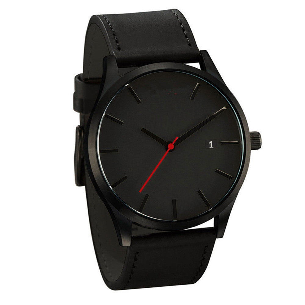 Couple calendar minimalist dial fashion leather strap watch