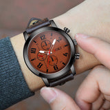 Big digital three eye leather strap analog watch