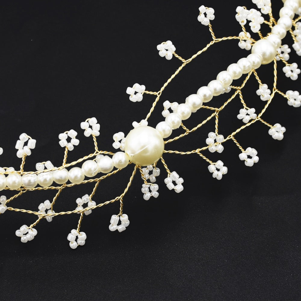Pearl crystal Bridal Vine Hairbands Crown