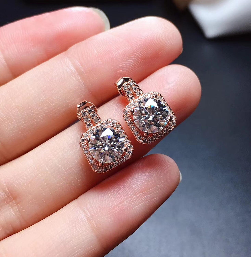 Authentic 925 Pure Silver High Quality Gemstone Lady's Earrings