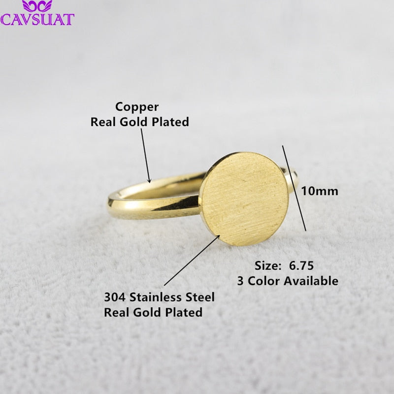Women Stainless Steel Round Disc Coin Stacking Ring