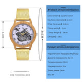 Women's Nature Wooden Grain bee Dial Quartz Watch