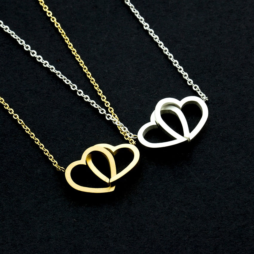Double Heart Statement Necklace for Women