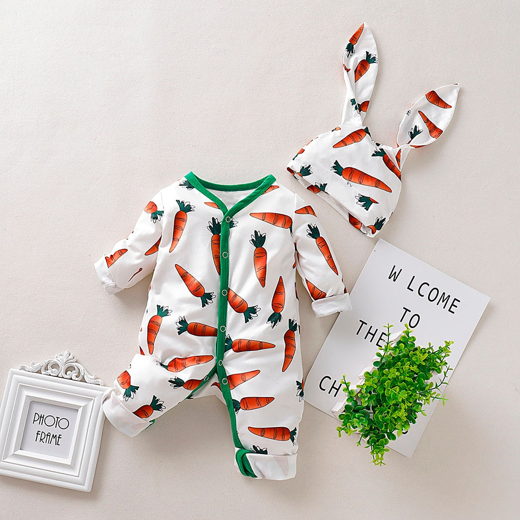Cartoon Carrot Print Romper+Rrabbit Ears Beanie Infant Clothing Set