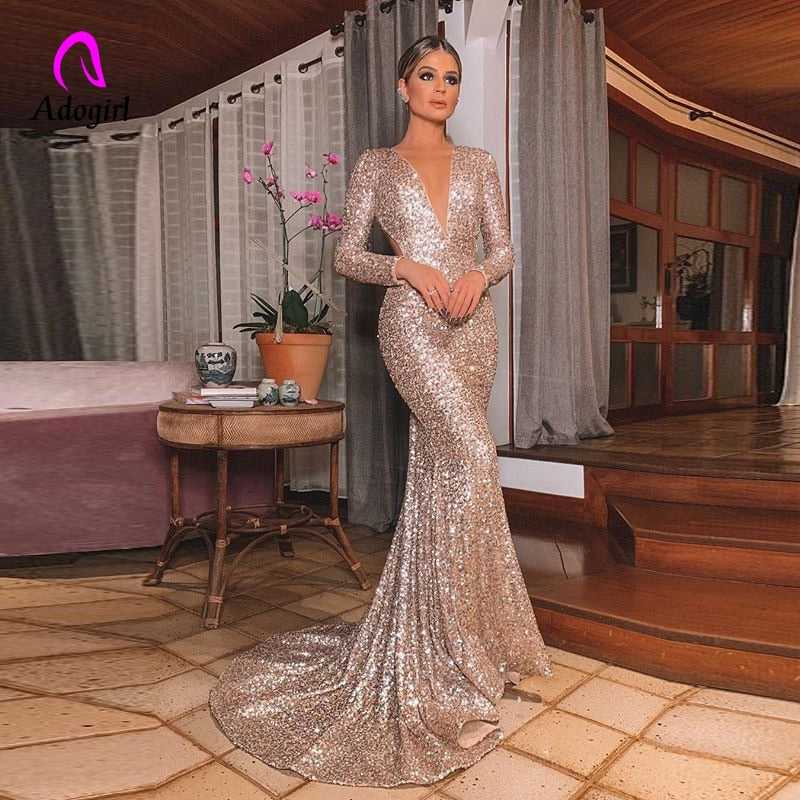 Elegant Long Rose Gold Sequin Evening Party Dress