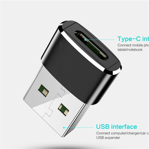 External To Type C Female OTG Connector Adapter USB 2.0 Male USB C Cable
