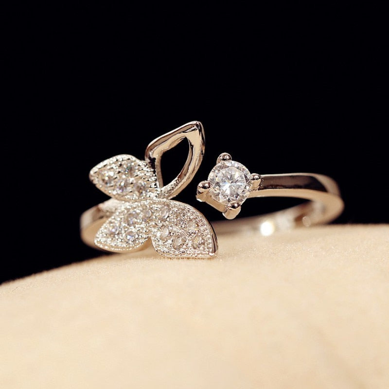 Fashion Beautiful Pure Silver Sweet Butterfly Open Diamond Ring