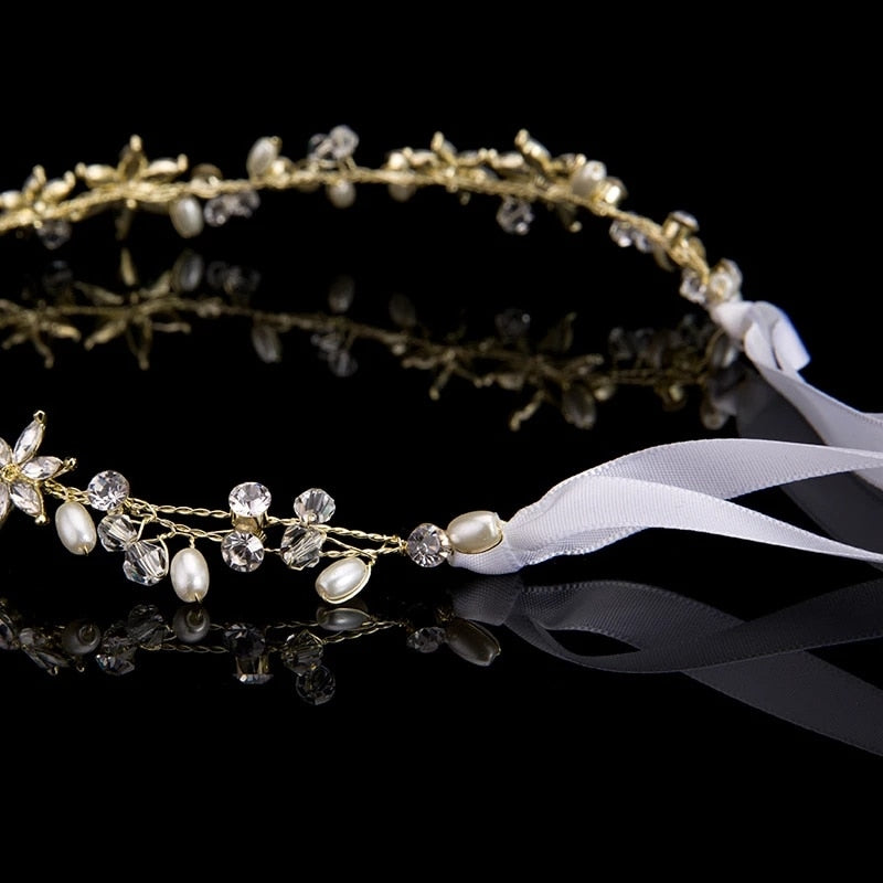 Fashion Bohemian Charm Crystal Rhinestone Pearl Wire Hairband
