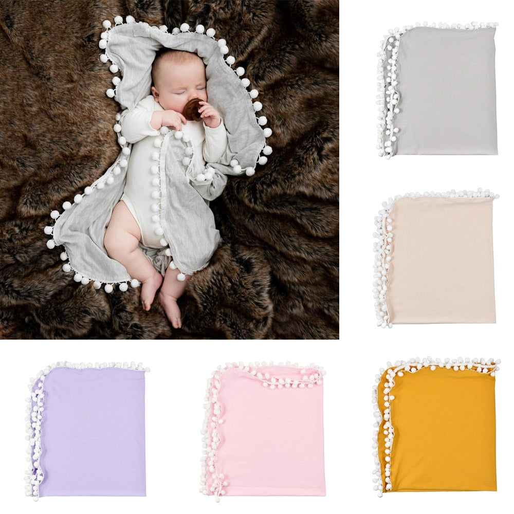 Newborn Baby Boys Girls Crib Pom Pom Blanket Sleeping Swaddle